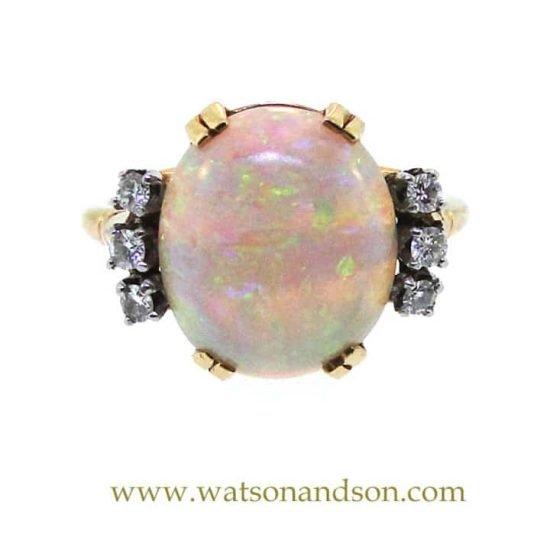 14K Opal And Diamond Ring 3