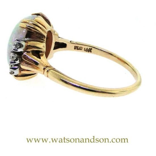 14K Opal And Diamond Ring 4