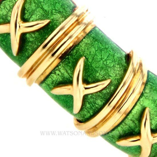 Tiffany &Amp; Co Schlumberger Croisillon Bracelet Light Green Enamel 4