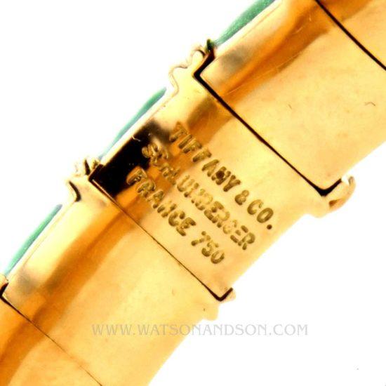 Tiffany &Amp; Co Schlumberger Croisillon Bracelet Light Green Enamel 3