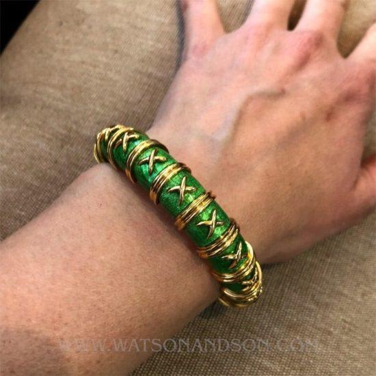 Tiffany &Amp; Co Schlumberger Croisillon Bracelet Light Green Enamel 2