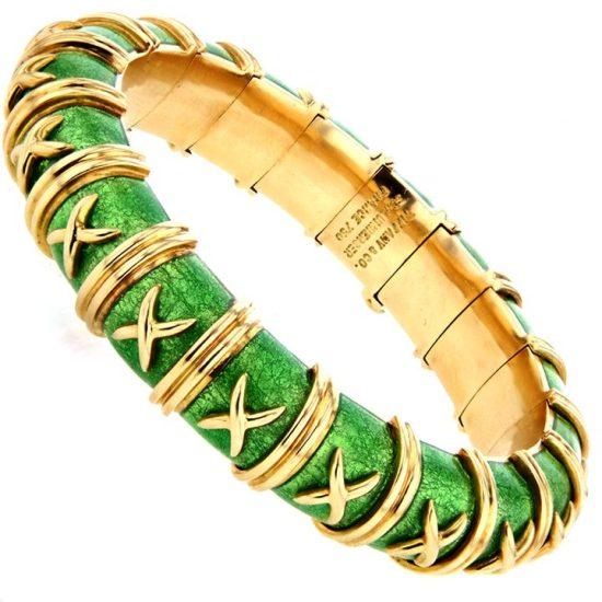 Tiffany &Amp; Co Schlumberger Croisillon Bracelet Light Green Enamel 1