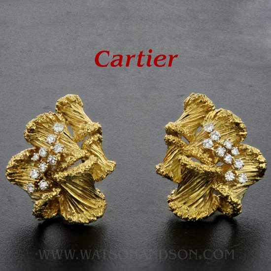 Cartier France Gold And Diamond Clip Earrings 1