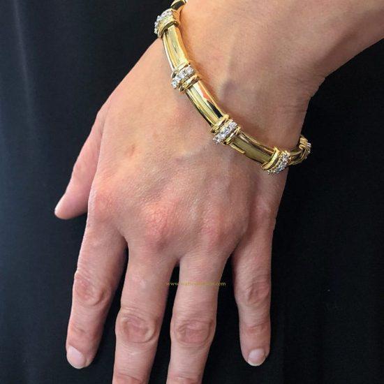 18K Tiffany &Amp; Co. Barlink Bracelet With Diamonds 4