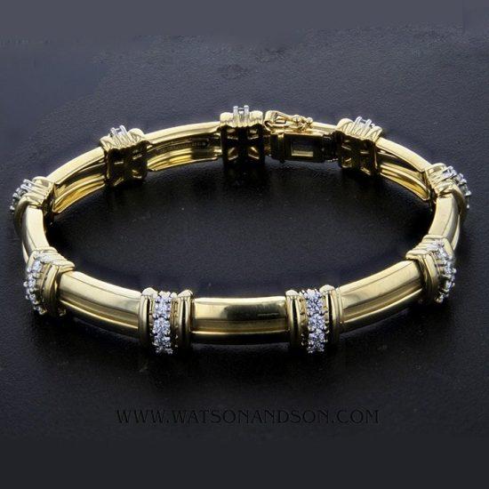 18K Tiffany &Amp; Co. Barlink Bracelet With Diamonds 2