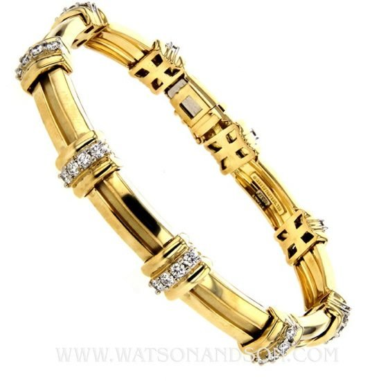 18K Tiffany &Amp; Co. Barlink Bracelet With Diamonds 1