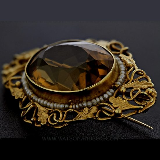 Victorian Yellow Gold, Golden Citrine Brooch 2
