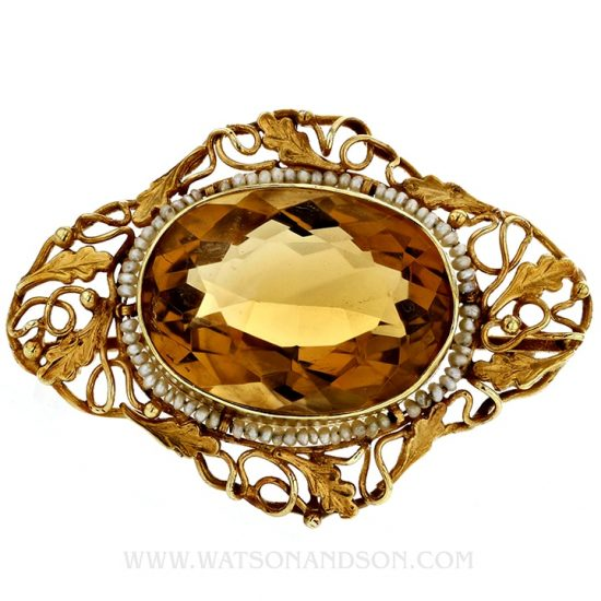 Victorian Yellow Gold, Golden Citrine Brooch 1