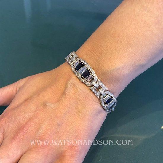 Platinum Sapphire &Amp; Diamond Deco Bracelet 5