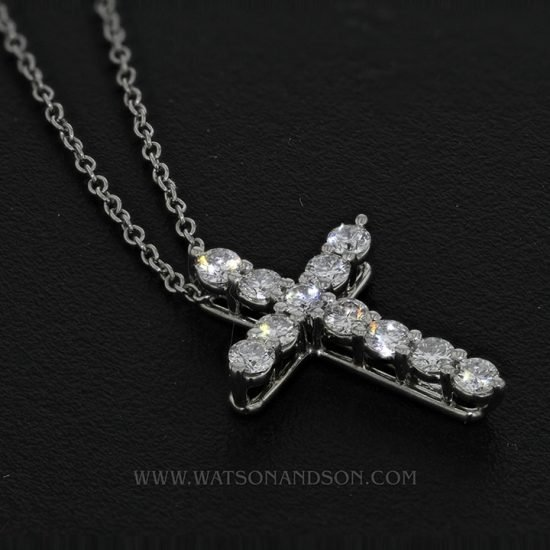 Tiffany &Amp; Co. Small Diamond Cross Pendant &Amp; Chain 3