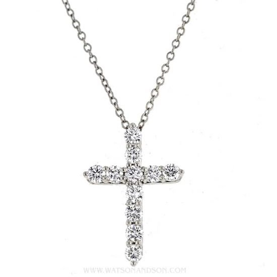 Tiffany &Amp; Co. Small Diamond Cross Pendant &Amp; Chain 1