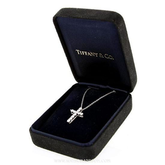 Tiffany &Amp; Co. Small Diamond Cross Pendant &Amp; Chain 4