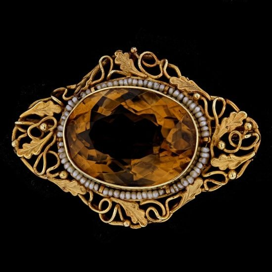 Victorian Yellow Gold, Golden Citrine Brooch 3