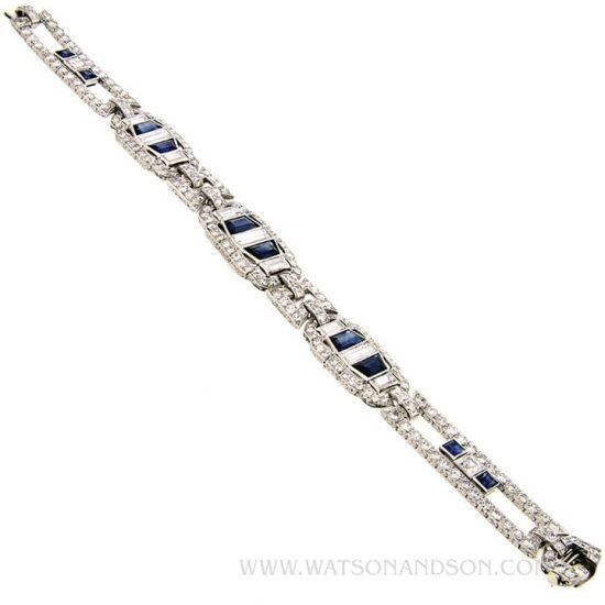 Platinum Sapphire &Amp; Diamond Deco Bracelet 2