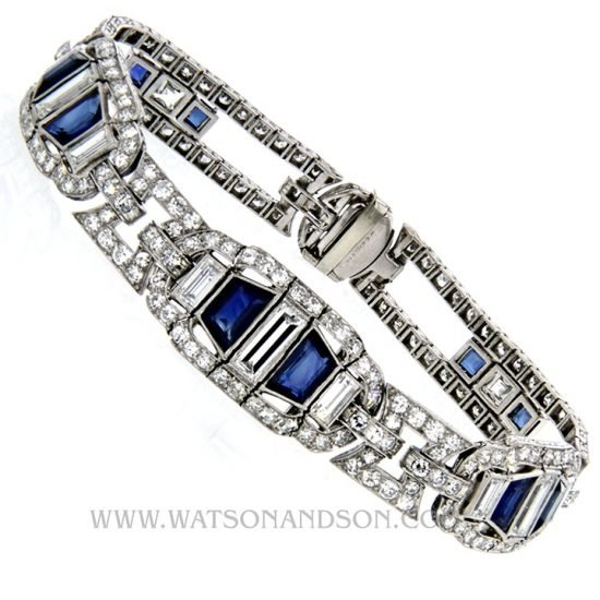 Platinum Sapphire &Amp; Diamond Deco Bracelet 3