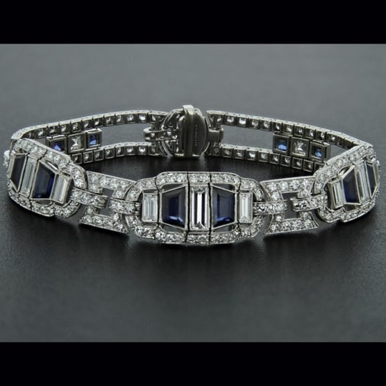 Platinum Sapphire &Amp; Diamond Deco Bracelet 1