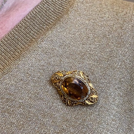 Victorian Yellow Gold, Golden Citrine Brooch 4