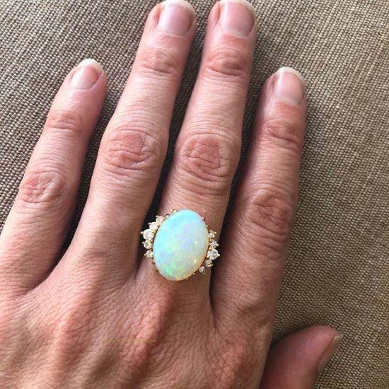 18K Opal And Diamond Ring 2