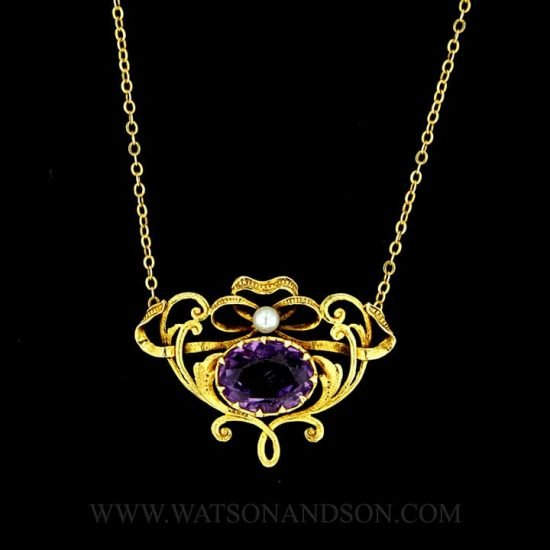 14k Victorian Amethyst and Pearl Pendant 1