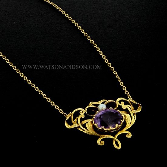 14k Victorian Amethyst and Pearl Pendant 3