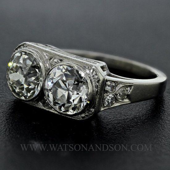 Platinum Edwardian Twin Ring 1