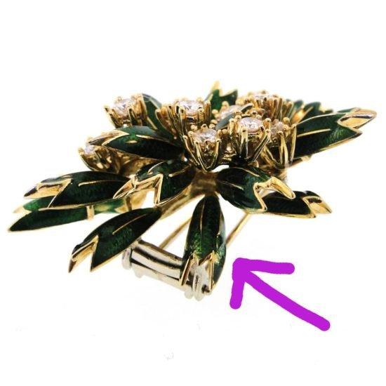 18K Enamel And Diamond Foliate Brooch 3