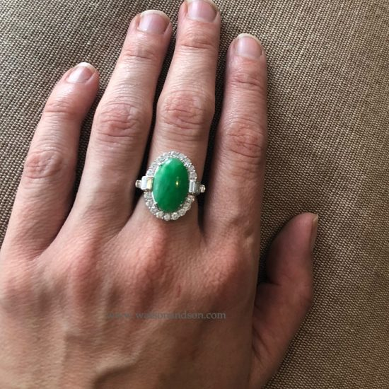 Platinum Jadeite And Diamond Ring 5