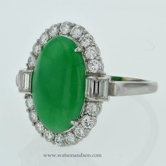 Platinum Jadeite And Diamond Ring 2