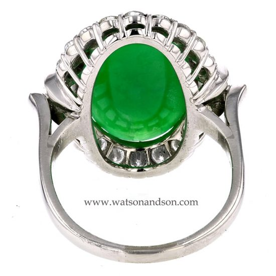 Platinum Jadeite And Diamond Ring 3