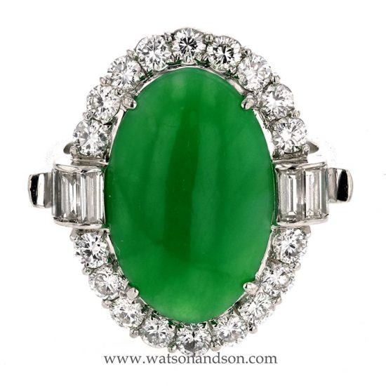 Platinum Jadeite And Diamond Ring 1
