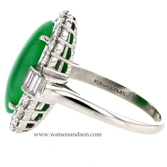 Platinum Jadeite And Diamond Ring 4