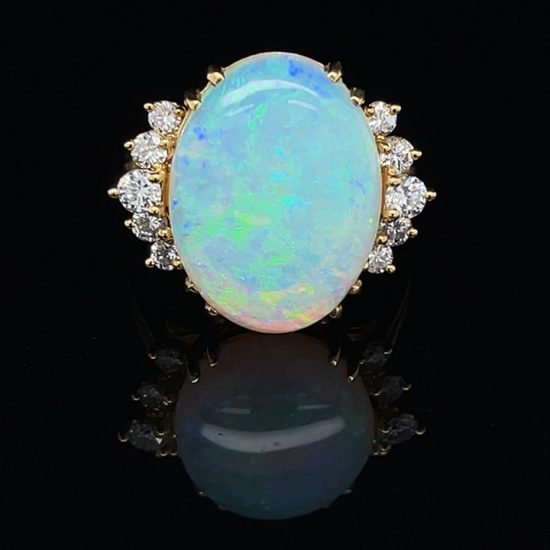 18K Opal And Diamond Ring 1