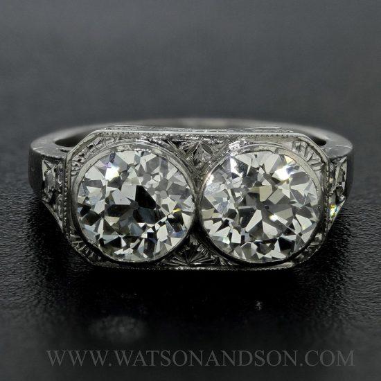 Platinum Edwardian Twin Ring 2