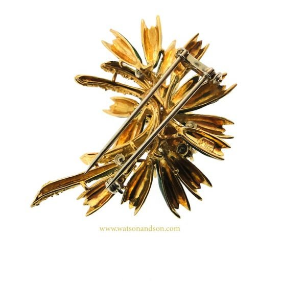 18K Enamel And Diamond Foliate Brooch 4