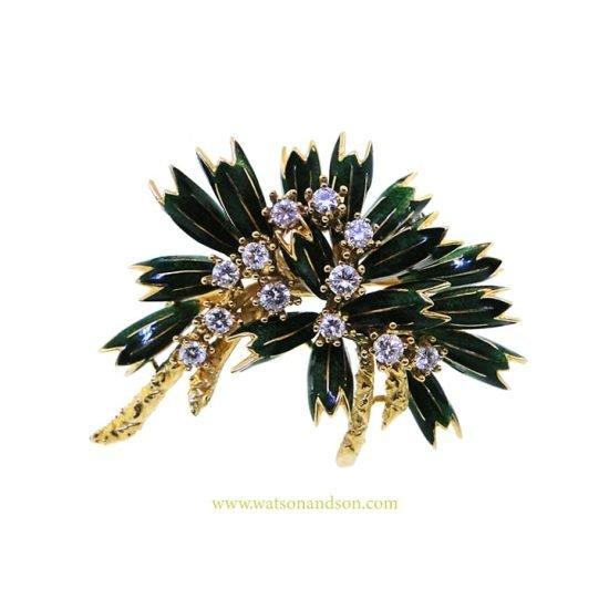 18K Enamel And Diamond Foliate Brooch 1