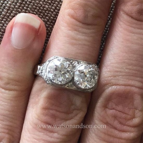 Platinum Edwardian Twin Ring 5
