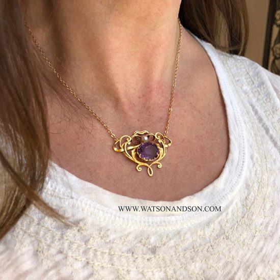 14k Victorian Amethyst and Pearl Pendant 6