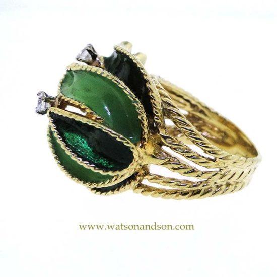 18K Enamel And Diamond Leaf Ring 3