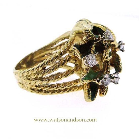 18K Enamel And Diamond Leaf Ring 4