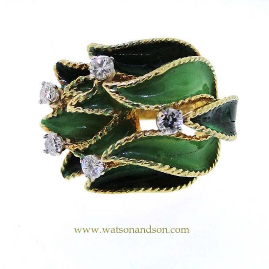18K Enamel And Diamond Leaf Ring 1
