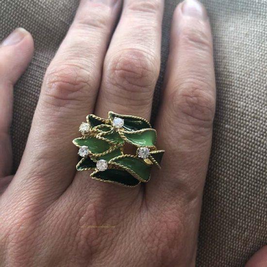 18K Enamel And Diamond Leaf Ring 5