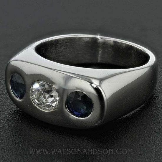 14K White Gold Diamond And Sapphire Band 3