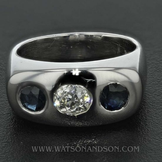 14K White Gold Diamond And Sapphire Band 1