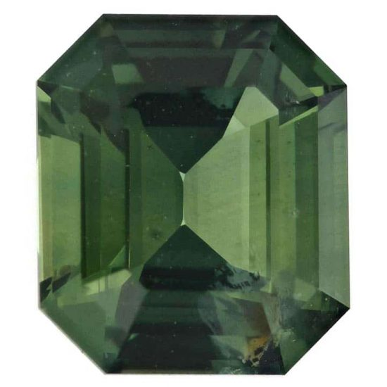 Emerald Cut Green Natural Sapphire - September Birth Stone 1