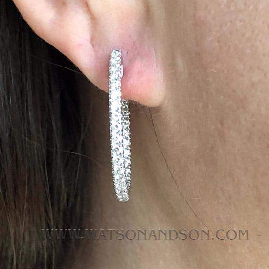 Inside Outside Diamond Hoop Earrings 3