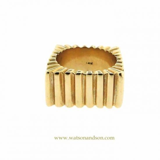 14k Ribbed Square Ring 3