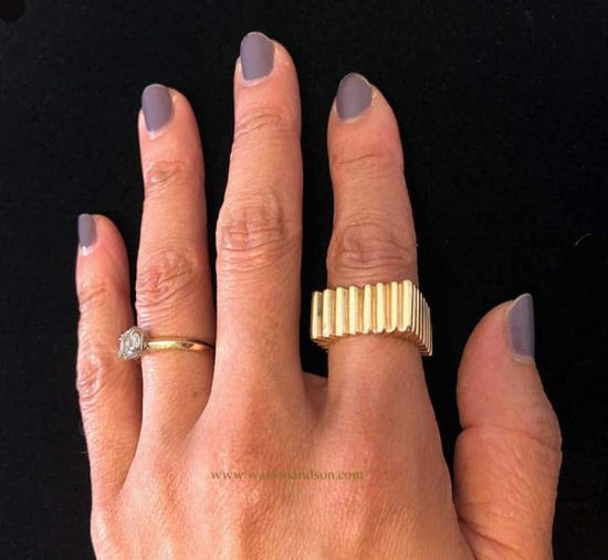 14k Ribbed Square Ring 4