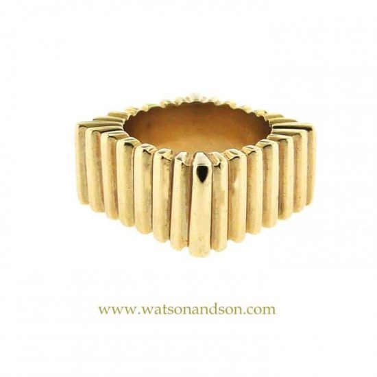 14k Ribbed Square Ring 1