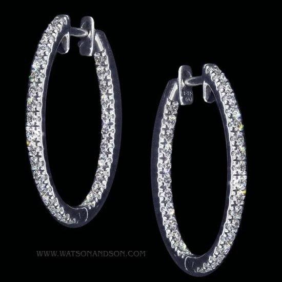Inside Outside Diamond Hoop Earrings 1