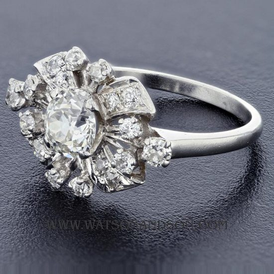 Platinum Diamond Cluster Ring 3